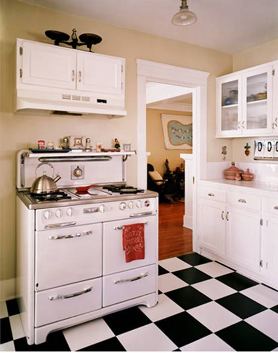 Black and white kitchen floors kate collins interiors for Kitchen ideas vintage