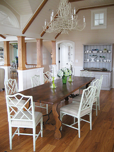 White chairs wood tables kate collins interiors for White and wood dining table and chairs