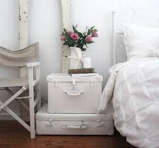 bedside table old luggage