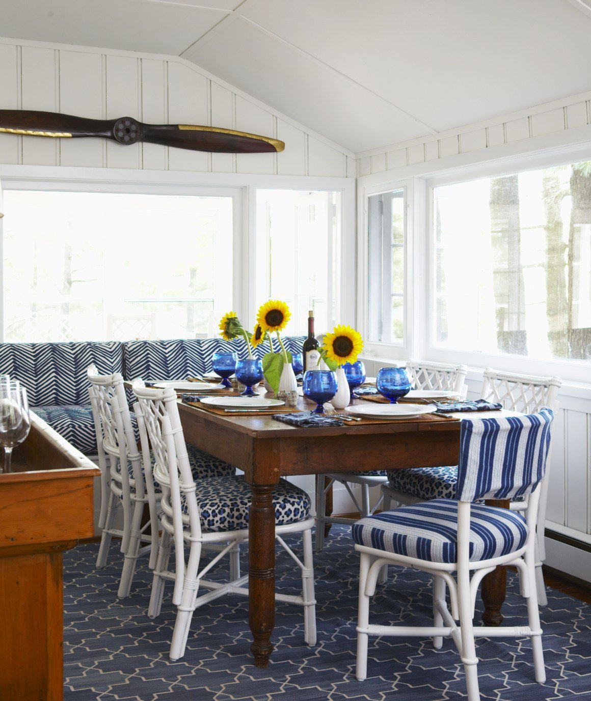 Blue and White Cottage Dining Room